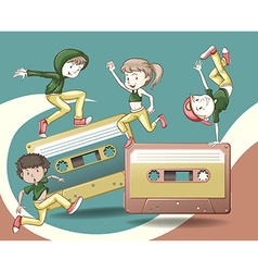 Retro design with tape casettes and people dancing vector image
