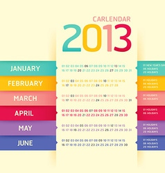Calendar 2013 modern soft color vector