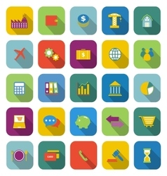 Economy color icons with long shadow vector image