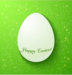 Paper card easter eggs on green background vector