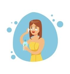 Woman applying moisturizing cream on face part of vector