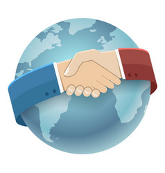 Globe world map international partnership icon vector