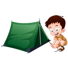 Boy scout with camping tent vector