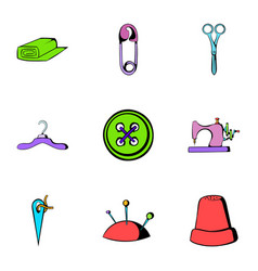 sewing clothes icons set cartoon style vector image