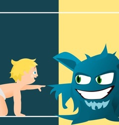 Child and monster vector