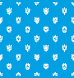 Shield with cross pattern seamless blue vector
