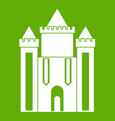 Ancient fort icon green vector