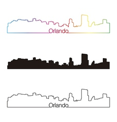 Orlando skyline linear style with rainbow vector