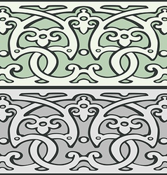 4 set of decorative borders vintage style silver vector