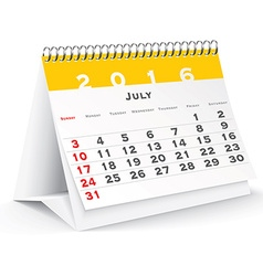 July 2016 desk calendar vector