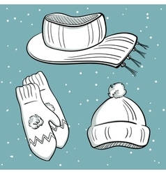 Winter clothes objects vector