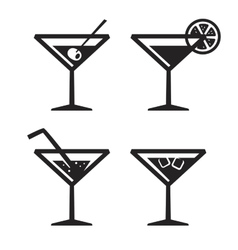 Black cocktail icon vector