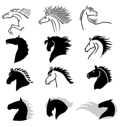 Horse icons vector