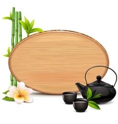 Wooden board with teapot vector