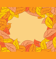 Autumn leaves background yellow fallen leaf vector