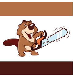 Beaver holding a chainsaw in his hands vector