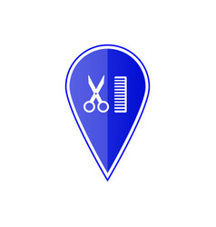 blue map pointer with scissors and comb vector image