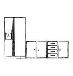 Blurred silhouette of lower kitchen cabinets with vector