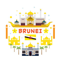 brunei travel and attraction label vector image vector image