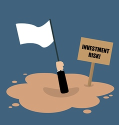 Businessman holds white flag sinking in a vector