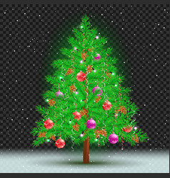 christmas tree dark transparent background vector image vector image