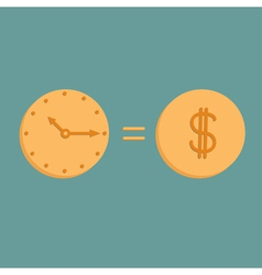 Clock and dollar coin Icons Time is money vector image vector image