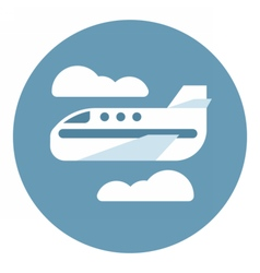 Digital aeroplane in blue circle vector image