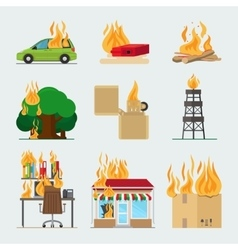 Fire risk icons vector image vector image