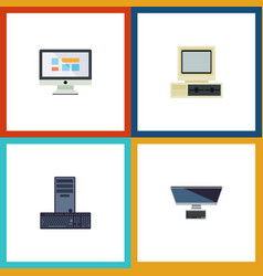 Flat icon laptop set of processor computer pc vector