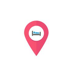 hotel pin flat icon navigation web vector image vector image