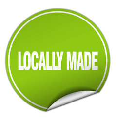 Locally made round green sticker isolated on white vector