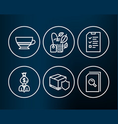 Manager interview and delivery insurance icons vector