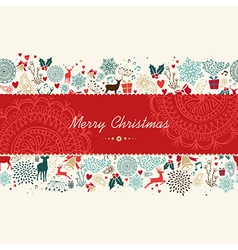 Merry Christmas vintage pattern greeting card vector image vector image