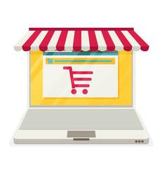 On line store sale laptop vector