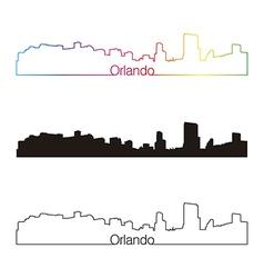Orlando skyline linear style with rainbow vector