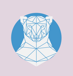 Polar bear head geometric lines silhouette vector