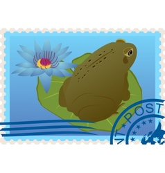 Postage stamp with a frog vector image