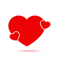 red valentine heart with shadow isolated icon vector image