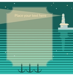 Retro frame with lighthouse vector