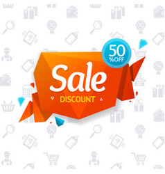 Sale label abstract origami bubble speech and vector