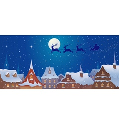 Santa sleigh above town vector image vector image