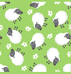 seamless pattern with sheep and flowers vector image vector image