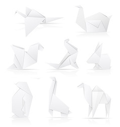 set icons origami paper animals vector image