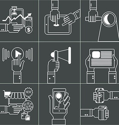 Set of linear business concept with hands vector image