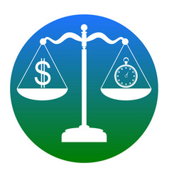 stopwatch and dollar symbol on scales vector image