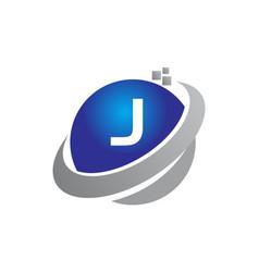 technology motion synergy letter j vector image vector image