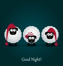 Three cute cartoon sheeps in hats good night vector