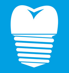 Tooth implant icon white vector