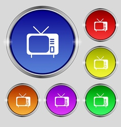 Tv icon sign round symbol on bright colourful vector