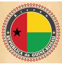 Vintage label cards of Guinea-Bissau flag vector image vector image